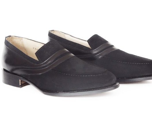 FSW031 – Black Suede Full Strap Loafers